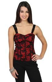 lace corset with underlay and buttons Deb Shops, Lace Corset, Basic Tank Top, Camisole Top, Tank Tops, Buttons, Outfits, Women, Style