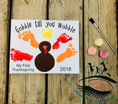 My First Thanksgiving Gobble till you wobble Turkey Craft Baby Footprint Art Toddler Footprint Art Mama Dont Blink Thanksgiving Crafts For Toddlers, First Thanksgiving, Halloween Crafts For Kids, Holiday Crafts, Fall Art For Toddlers, Baby Halloween, Baby Fall Crafts, Halloween Crafts For Toddlers, Daycare Crafts