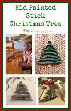 Kid Painted Stick Christmas Tree - www.mamashappyhive.com