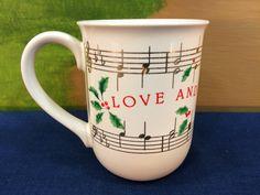 "Vintage Porcelain Hallmark Christmas Mug Cup ""Love And Joy Come To You"" Christmas Music Made In Japan by AdoptAKeepsake on Etsy"