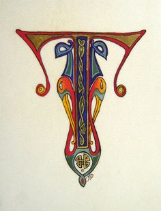 Medieval Illumination; Celtic Drop Cap, Initial T