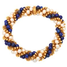 VAN CLEEF & ARPELS - PARIS Gold Lapis and Pearl Bracelet