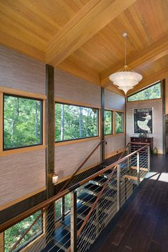 Glass house embraces its natural habitat on Kiawah Island Metal Stairs, Modern Stairs, Glass Stairs, Bungalow Interiors, Stair Railing Design, Wood Architecture, Hall Design, Glass House, Architect Design
