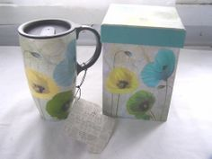 New Cypress Ceramic Latte Mug Box Set Spring Floral Poppy Flowers Travel Cup