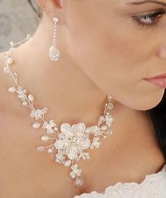Envogue Freshwater Pearl Crystal Wedding Necklace Earring Bridal Jewelry Set