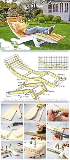 Sun Lounger Plans - Outdoor Plans and Projects - Woodwork, Woodworking, Woodworking Plans, Woodworking Projects Woodworking Projects Diy, Woodworking Bench, Diy Wood Projects, Furniture Projects, Wood Crafts, Adirondack Chair Plans, Outdoor Furniture Plans, Outside Furniture, Cool Furniture