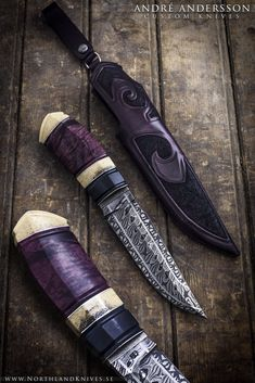 "Handmade knife named ""Purple heart"" by knifemaker and bladesmith André Andersson of Sweden. More info at his homepage: http://www.NorthlandKnives.se https://www.etsy.com/listing/248523846/leather-pearl-necklace-brown-genuine?ref=shop_home_active_24"