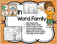 "Short i ""in"" Word Family Cards and Activities from Teaching Superkids on TeachersNotebook.com -  (42 pages)  - Short i ""in"" Word Family Cards and Activities"
