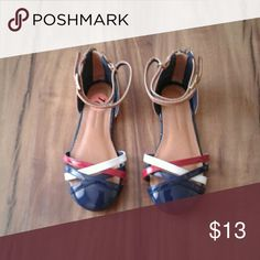 Kids size 10 Tommy Hilfiger Criss cross flats Color: red/white/blue/tan Material: n/a Condition: never worn/new Stretch to fit? N/A Size: toddler 10 Smoke free/clean/pet free home Same day/next day shipping Honest seller!! :) Tommy Hilfiger Shoes
