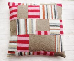 Felted pillow case pink and brown striped by poppyshome on Etsy, $62.00