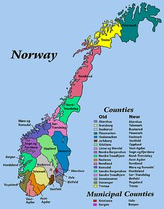 Resources for researching locations and ancestors in Norway. The map displays old and new names of counties in Norway, which are called fylke.