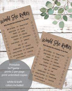 Printable Would She Rather Baby Shower Game - prints 2 - Game Cards per - Print It Baby Baby Shower Candy, Baby Shower Bingo, Baby Shower Party Supplies, Baby Shower Activities, Baby Shower Parties, Baby Showers, Nursery Rhymes Games, Free Baby Shower Printables, Wishes For Baby Cards