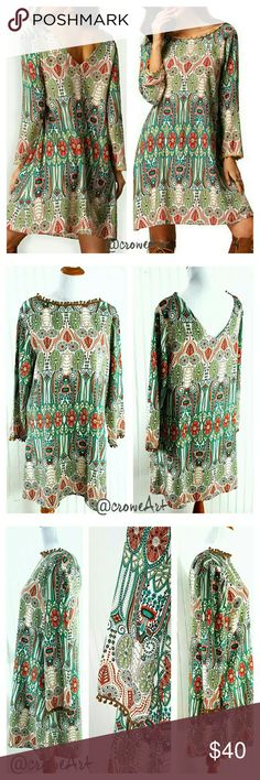 Boho Print Long Sleve Midi Tan Pompom trim accent this cute long sleeve A-line mididress, perfect for summer and fall! Fantastic teal, rust and mint Bohemian pattern, v-cut back neckline,  wide sleeves with Pompom trim, A-line style. Thin, soft & lightweight Rayon/Polyester blend.   DRESS RUNS SMALL, ORDER 1 SIZE UP Boutique  Dresses Mini