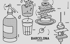 Illustrated Postcards inspired in Barcelona Culture