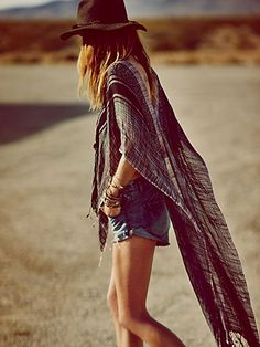High Low Pullover Poncho via FP