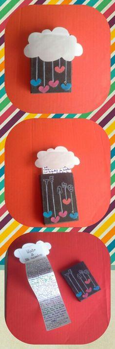 Tarjeta para amor y amistad en una caja de cerillas