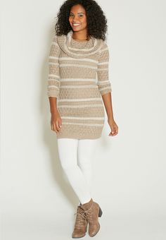 sweater dress with stripes and cowl neck - #maurices