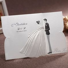 White Ilration Bride And Groom Wedding Invitations Ga 9070 Itsinvitation