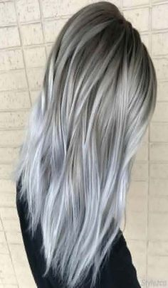 Perfect Combination of Grey & Silver Hair Colors for Are you ready to get the Stunning look with this Perfect Combination of Silver & Grey Hair Styles. Then check out here is the Gorgeous and Cutest look you can wear in Silver Hair is not just Grey Ombre Hair, Grey Wig, Silver Grey Hair, Silver Color, Grey Hair Dyes, Ash Blonde Hair Silver, Silver Hair Colors, Silver Blonde Ombre, Hair Colors