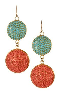 Turquoise & Coral Pave Crystal Drop Earrings by Vivian Tamayo on @HauteLook
