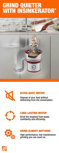 Nothing can bring the conversation or party to a grinding halt faster than using a typical sink disposal unit. That's why InSinkErator has designed a better, quieter way to grind food waste, so you can grind without getting in the way of the conversation Kitchen Redo, Kitchen Storage, Kitchen Remodel, Kitchen Design, Kitchen Ideas, Modern Farmhouse Kitchens, Home Kitchens, Home Depot, Love Your Home