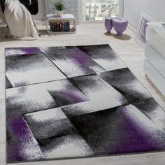 Wohnzimmer Teppich Kurzflor Lila Grau
