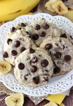 These Banana Chocolate Chip Cookies are moist, chewy, dense and full of banana flavor and chocolate chips! They aren't cake-like at all and will be your new favorite cookie!