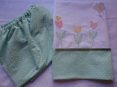 Enxoval de bebe - jogo de lençol de elástico com fronha Confeccionado por Maete Atelier www.facebook.com/maete.atelier teresi@globo.com