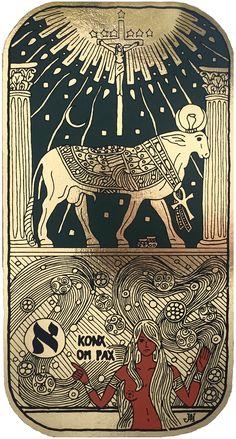 The golden calf (my artwork; the silkscreen on gold foil) / Zlaté tele (má výtvarná práce; sítotisk na zlatou fólii)