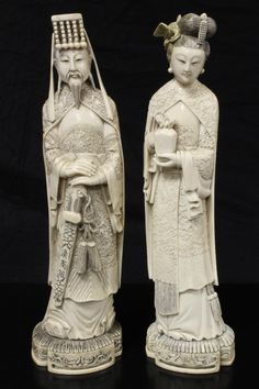 Pr OF CHINESE HAND CARVED IVORY EMPEROR & EMPRESS