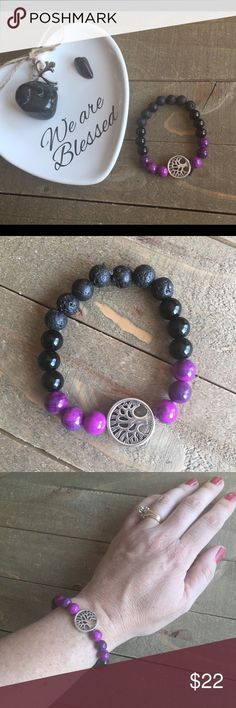 Genuine Protective Gemstone Bracelet I designed and made this highly protective stretch bracelet with genuine Sugilite, Black Obsidian and Lava stones. It features a silver Tree of Life charm. #gemstone #handmadejewelry