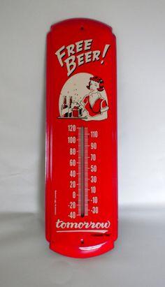 Free Beer Red Metal Sign Thermometer Free Beer by oldandnew8, $20.00