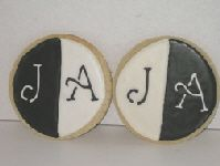 black and white wedding favor cookies