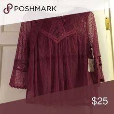 Free People blouse Free people, lace, sheer top, plum/pink color, new with tags, size Large but runs small. Free People Tops Blouses