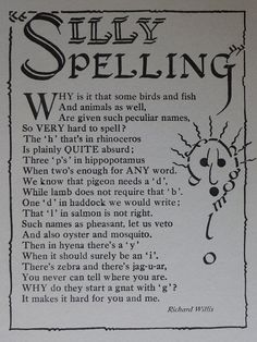 1936 Vintage Print Of A Children's Poem - Silly Spelling - Learning To Read - Phonics - Reading & Writing - School Print - English Language Poems For Boys, English Poems For Kids, Poetry For Kids, Kids Poems, Learn English Words, Teaching English, English Phonics, Poems About School, School Poems