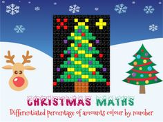 Christmas maths: percentage colour by number