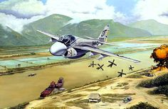 Grumman A-6A Intruder dropping a load of Snakeyes over Nam