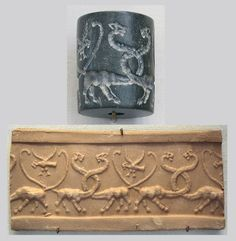 Jasper cylinder seal, Mesopotamia, Uruk Period, 4100 BC–3000 BC. This early seal depicts lion-headed eagles and two Serpopards (mythical long-necked lion beasts). Serpopards also appear on the Narmer Palette, an important artifact from Ancient Egypt's first dynasty. This may mean the Serpopard is an ancient cross-cultural symbol with great importance, like the swastika (pre Nazi). It may also indicate an early culture group spread widely across the Middle East and Africa. It's quite…