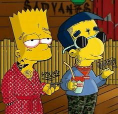 Simpson Wallpaper Iphone, Cartoon Wallpaper, Iphone Wallpaper, Dope Wallpapers, Animes Wallpapers, Dessin Old School, Dope Cartoons, Simpsons Art, Supreme Wallpaper