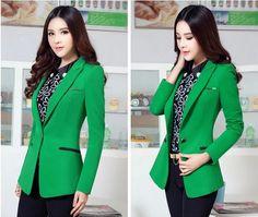2015 мода кнопка пиджаки женщины конфеты цвет куртки тонкий костюм пиджак офис леди куртки зеленый верхняя одежда blaser feminino купить на AliExpress