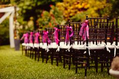 so simple of a way to add color to the aisle - use ribbons!