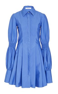 Pleated Shirt Dress With Smocking Detail by ADEAM Now Available on Moda Operandi
