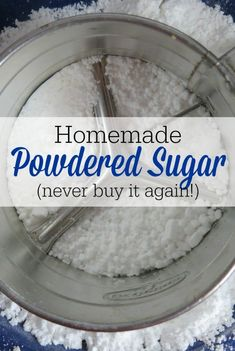 Making your own homemade powdered sugar is one of the easiest things you will ever do in the kitchen! Never buy it again! Making your own homemade powdered sugar is one of the easiest things you will ever do in the kitchen! Never buy it again! Homemade Dry Mixes, Homemade Spices, Homemade Seasonings, Homemade Baking Powder, Homemade Things, Real Food Recipes, Cooking Recipes, Food Tips, Cooking Hacks