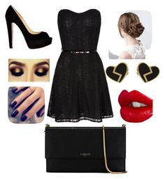 """""""Elegant In Black"""" by tomboygirly184 on Polyvore featuring Christian Louboutin, Lanvin, Charlotte Tilbury, Lottie, Marc by Marc Jacobs and Mela Loves London"""