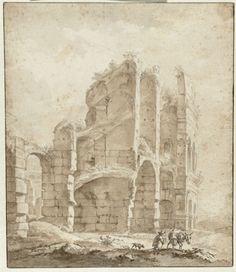 anoniem   Gedeelte van het Colosseum met een ezeldrijver, attributed to Jan Asselijn, 1635 - 1646  