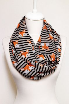Fox pattern Chiffon Infinity scarf Circle Scarf Loop by Aslidesign Gift idea For Her Fall Fashion Christmas, 18.90 usd Coupon Code : PIN10 for %10 discount birthday gift Fox accessories Trend Scarf Stripe scarf
