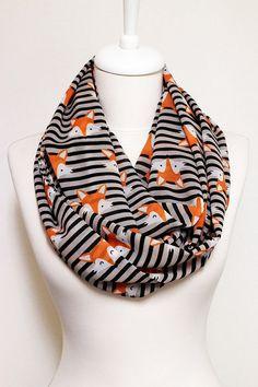 CYBER MONDAY 15% Fox pattern Chiffon Infinity scarf, Circle Scarf, Loop Scarf, Scarves, Shawls, Spring Fall Winter - Summer fashion Christma