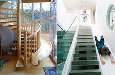 Every home with stairs should have a stair slide! 31 Of The Coolest Things For Your House If You Win The Lottery Wood Staircase, Modern Staircase, Spiral Staircase, Staircase Design, Staircases, Stair Design, Interior Staircase, Stair Slide, Lego Wall