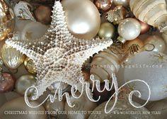 COASTAL Christmas Cards Holiday Starfish Nautical Gold Silver Glitter Ornaments Beachy set of 10 single side w/envelopes /postcard style