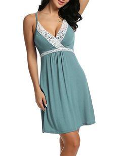e758a760515 Womens Sleepwear Nightgown Full Slips Lace Sling Dress S-XXL - Green -  Clothing